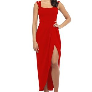 Xscape side ruched double strap crepe gown